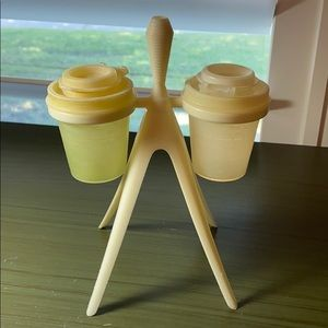 Vintage Tupperware salt and pepper shakers w stand